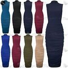 Womens Polo Turtle High Neck Midi Dress Ladies Side Ruched Bodycon Fit Plus Size