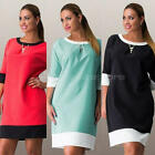 Casual Women Vintage 3/4 Sleeve Loose Plus Size Blouse Top Tunic Mini Dress NEW