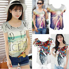 CHIC New Summer Women Casual Short Sleeve Loose Summer T-shirt Tops Shirt Blouse