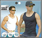 3 pieces MENS 100%  COTTON  FITTED VESTS GYM TRAINING SUMMER