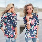 Women Casual Chiffon Floral Blouse Long Sleeve Office Ladies T shirt Loose Tops