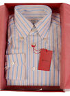 KITON NAPOLI Blue Striped Linen Cotton Button Down Dress Shirt NEW