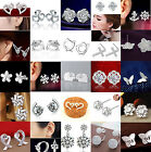 Fashion Women 925 Sterling Silver Crystal Rhinestone Ear Stud Silver Earrings CH