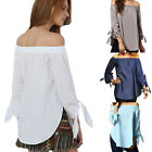 Summer Womens Casual Loose T-shirt Tops Long Sleeve Off Shoulder Shirt Blouse