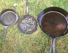Lot 3 Griswold Erie #8 Cast Iron Skillet 704 R Large Block Logo Wagner 3 Trivet