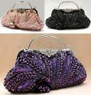 Beading Peacock  Women Bride Cocktail Party Evening Clutch Bag Handbag Purse