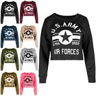 Ladies Oversized US Army Stripe Full Sleeve Womens Baggy Raw Edges Mini T Shirt