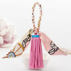 Leather tassel fringe bowknot key chain handbag silk ties elegant pendant women