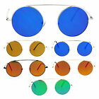 SA106 Hippie Flat Top Bridge Color Mirror Round Circle Lens Sunglasses