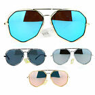 SA106 Octagon Double Rim Revo Mirror Flat Lens Aviator Sunglasses