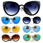 SA106 Revo Mirror Lens Double Rim Metal Cat Eye Sunglasses