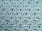 owl Bunny Rabbit on blue background / 100% cotton Fabric material quilting