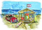 Beach Hut Shack Surf Sand Woody Vinyl Decal Sticker - Auto Car Truck RV Cup Boat