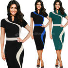 Womens Contrast Colorblock Wear To Work Office Casual Party Pencil Dress New
