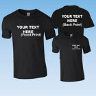 CUSTOM PRINTED PERSONALISED BLACK T-SHIRT + YOUR OWN TEXT OR SIMPLE GRAPHIC