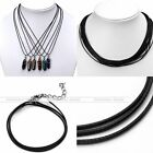 1-2mm Black Extend Waxed Leather Braided Necklace String Cord Chains 18-19.5""