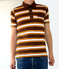 Striped vtg tee t-shirt brown white yellow button polo indie mod beach boys 60's