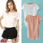 NEW Womens Ladies Summer Tops Casual Loose Short Sleeve Chiffon Blouse T-Shirt