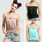 Summer Womens Plain Strapless Bandeau Boob Tube Top Tank Vest Blouse T-shirt AU