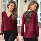 Fashion Women V-neck Long Sleeve Tee Lace Patchwork See-through Shirt EA