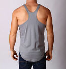 Mens Y Back Curved Lifting Weight Training Singlet SPORT Stringer Tank Cotton