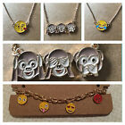 EMOJI/EMOTICON FUN NECKLACE/BRACELET/EARRINGS..KISS/LAUGHING/MONKEYS.ANGRY FACE.
