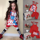Kids Baby Girls Fashion Summer Outfits Set Red Sling vest Casual Clothes 1-5Y