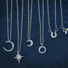 Elegant NEW Crystal Star Moon Bowknot Heart Necklace Pendant Simple Gift Jewelry