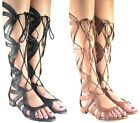 NEW  JAZZY LADIES WOMEN UNDER THE KNEE  HIGH LACE UP SUMMER GLADIATOR SANDALS