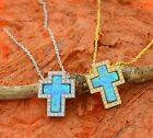 Necklace with Cross and CZ Stone Pendant -Sterling Silver-Gift Idea!!
