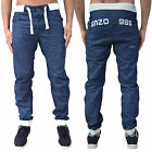 Mens Enzo Cuffed Jogger Style Denim Jeans Designer Stylish Funky Pants Bottoms