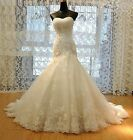 White Ivory Mermaid Gown Bridal Wedding Dress Custom Size 6 8 10 12 14 16 18++