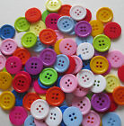 20MM COLOURED RESIN 4-HOLE ROUND BUTTONS CRAFT SEWING SCRAPBOOK - VAR QTY