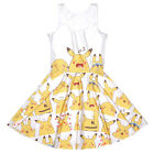 Women pleated Dress  Pokemon Emoji Pikachu Printed sleeveless Mini dress S-4XL