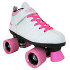 New! Black or White Chicago Bullet Quad Speed Roller Skates with Pink Laces
