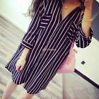 Casual Fashion Women Turndown Collar Loose Striped Long Tops Blouse Shirt Dress