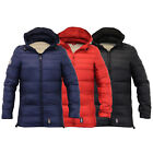Mens Padded Quilted Hooded Slim Fit Lined Winter Jacket Coat By Crosshatch