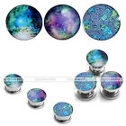 Colorful Starry Sky Clown Forest Trail Steel Expander Tunnel Plugs Ear Stretcher