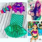 Vacation Kids Baby Girl Tops+Skirts Mermaid Tail Dress Outfits Set Swimwear 1-7Y
