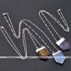 Natural Stone Sword Healing Bead Pendant White Gold Chain Necklace Jewelry Women