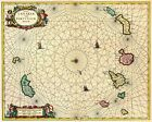 1720 Canary Islands Historic Vintage Style Spanish Wall Map - 20x24