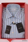 KITON NAPOLI Hand Made Blue Striped Cotton Shirt NEW