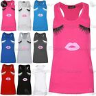 New Ladies Eyelases Lips Vest Bodycon Racer Back Muscle Vest Womens Gym Top