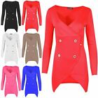 Womens Ladies Long Sleeves Front Military Buttons Wrap Over Tuxedo Blazer Dress