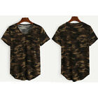 Womens Casual V-neck Camouflage Military Camo Short Sleeve T-shirt Top Shirts