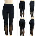 Womens Black Mesh Yoga Gym Leggings Fitness Running Sport Pants Stretch Trousers
