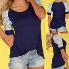 Fashion Women's Loose Summer Tops Lace Short Sleeve T Shirt Casual Blouse Tee