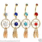 14K Gold Plated Dream Catcher belly button ring/belly piercing/navel bars/body