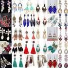 1Pair Boho Women Fashion Rhinestone Ear Stud Earrings Crystal Tassel Drop Chain