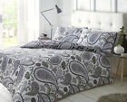 Pieridae Paisley 4 Piece Duvet Cover Fitted Sheet Pillowcase Set Mono Black Grey